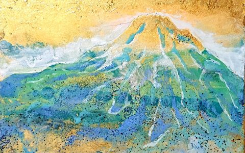 Blue-Verde-Azul  Mt.Fuji    6.2  ×  4.8  inch  Japanese style painting (japanesepaper,  mineralpigments,  gold leafs)