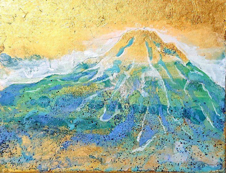 第4回レッツ55展出品作品より。 今回のテーマ『Blue-Verde-Azul』より『富士山』
