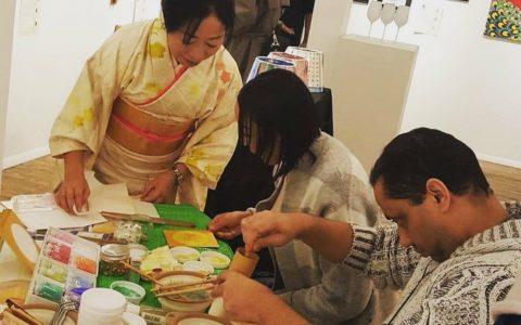 ニューヨークで日本画体験会